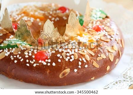"""Roscon de reyes"" , Spanish typical dessert of Epiphany - stock photo"