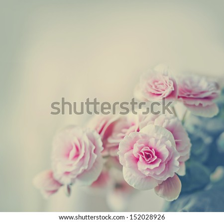 Roses in vintage style/Pink flower background - stock photo