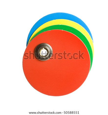 round colorful blank tag label  isolated on white background - stock photo