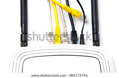 router with wires, cable, Internet, isolated on white background - stock photo