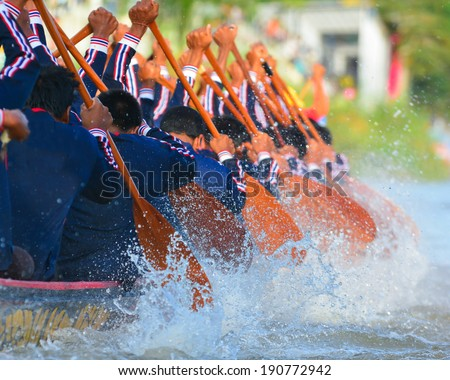 rowing team race - stock photo