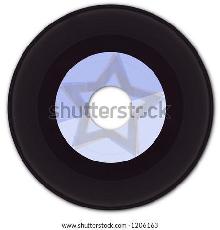 45 rpm Vinyl Record with fake label. - stock photo