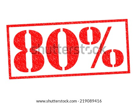 80% Rubber Stamp over a white background. - stock photo