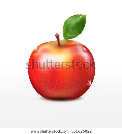ruddy apple with green leaf isolated on a white background - stock photo