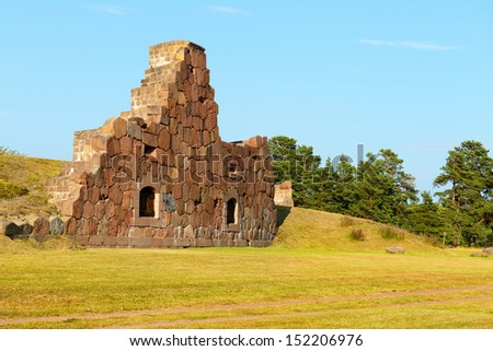 Ruins of the fortress Bomarsund  (1832-1854). Remains of military fortifications in the field - stock photo