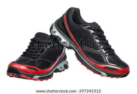 Running shoe, sneaker or trainer isolated on white - stock photo