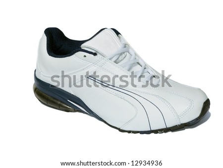 running shoes on white - stock photo