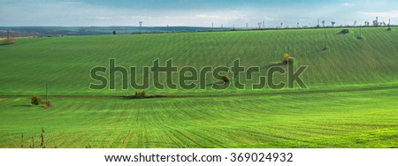 Rural landscape with ascending green agricultural field.