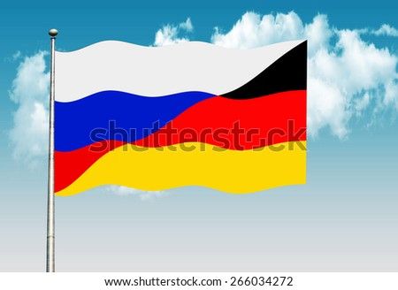 Russian and  German flag           - stock photo