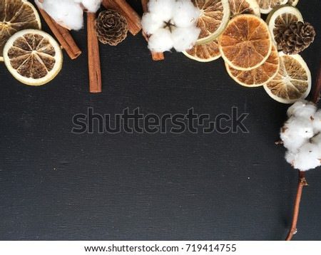 Rustic Winter Wallpaper Dry Fruits On Black Background