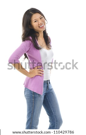 30s confident pan Asian female smiling over white background - stock photo