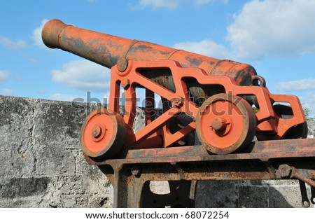 1800s Era Cannon on Fort Fincastle, Nassau, Bahamas - stock photo