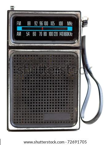 1960's era transistor radio isolated on a white background. - stock photo
