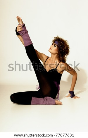 80's Fashion model woman  over gray background - stock photo