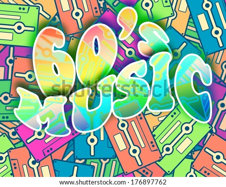 60s music retro concept. Vintage poster design - stock photo