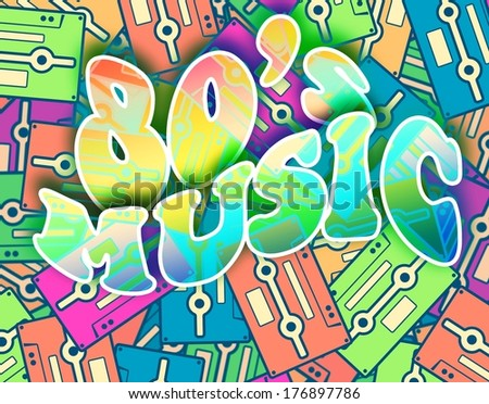 80s music retro concept. Vintage poster design - stock photo