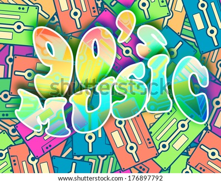 90s music retro concept. Vintage poster design - stock photo