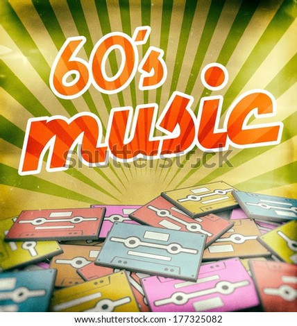 60s music vintage poster design. Retro concept on old audio cassettes - stock photo