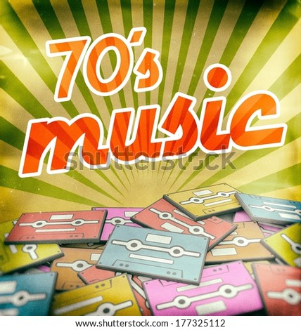 70s music vintage poster design. Retro concept on old audio cassettes - stock photo