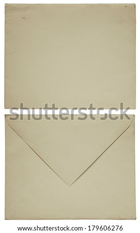 1960s old envelope front and back isolated on white - stock photo