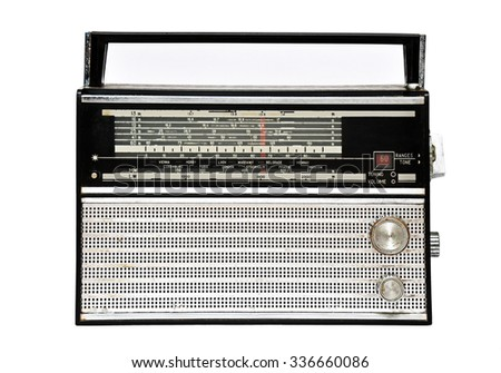 1960s old retro radio isolated on a white background