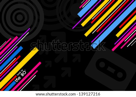 80's pop music black disco background with diagonal lines - stock photo