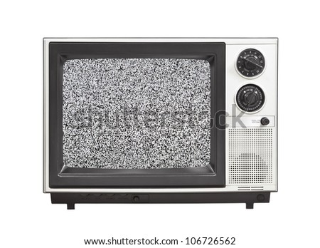 1980's portable television set with static isolated. - stock photo