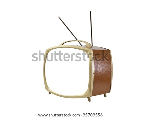 1950's portable television with blank screen and antennas up isolated. - stock photo