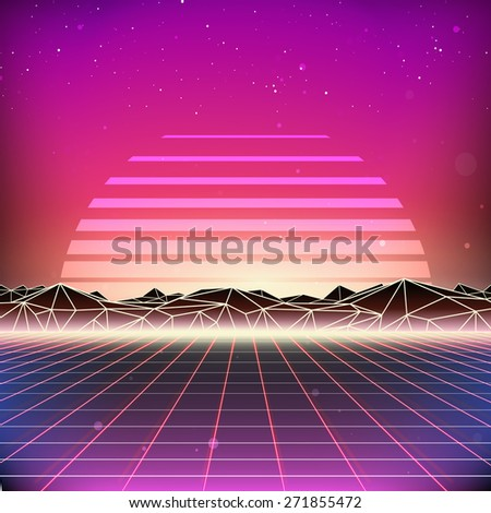 80s Retro Futurism Sci-Fi Background - stock photo