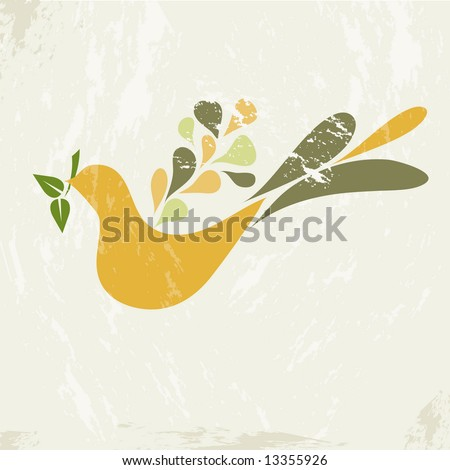 1970s retro style teardrop dove holding an olive branch on a grunge background - stock photo
