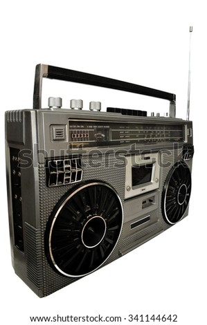 1980s Silver retro, boom box and headphone isolated on white background - stock photo