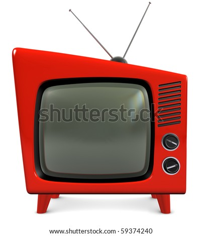1950s style retro plastic TV with a trapezoidal design, isolated on white with a clipping path - stock photo
