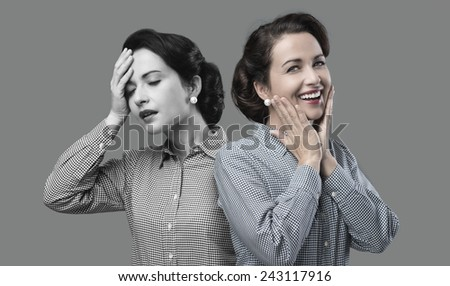 1950s style woman expression changing from weakness to vitality - stock photo