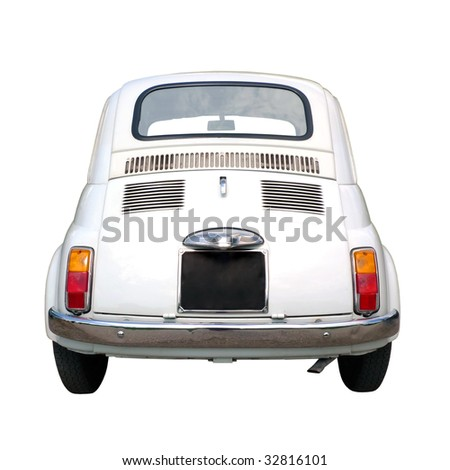 60s vintage italian car isolated on white background - stock photo