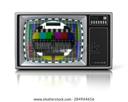 80s Vintage Portable Television Set (Color TV) with Test Signal Screen Isolated on White Background. 3D Illustration - stock photo
