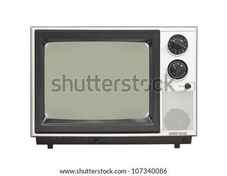 1980's vintage television set isolated. - stock photo