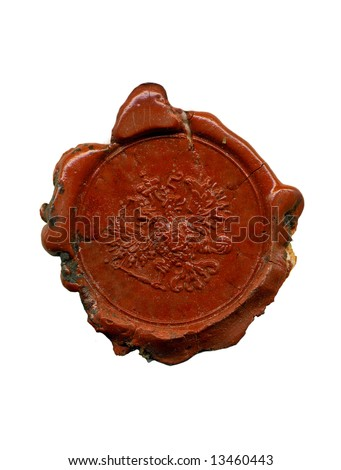 1900s wax seal with the double-headed eagle emblem. Original rich texture preserved - stock photo