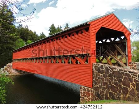 sachs covered bridge over marsh creek in gettysburg, pennsylvania        - stock photo