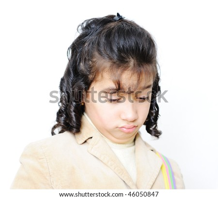 sad school girl - stock photo