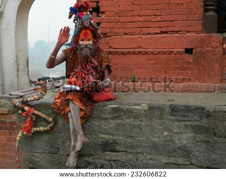 Sadhu Baba in Pashupatinath (Kathmandu, Nepal).                               - stock photo