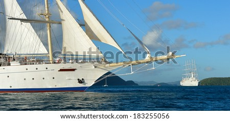 Sailing cruises. Collection of yachts and ships - stock photo