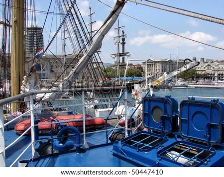 sailing regatta in barcelona and a ship board, spain, catalonia - stock photo