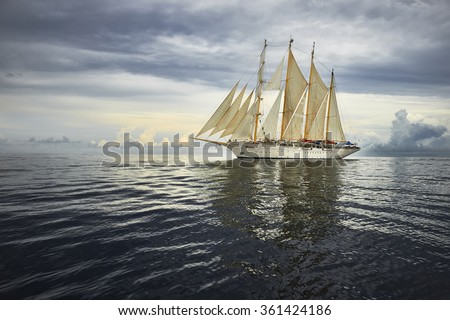 Sailing ship and a beautiful seascape.  Yachting. Sailing    - stock photo