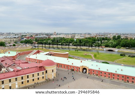 SAINT-PETERSBURG, RUSSIA - JUNE 19, 2015. City view panorama of Saint-Petersburg buildings and Peter and Paul Fortress  - view from a height