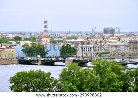 SAINT-PETERSBURG, RUSSIA - JUNE 19, 2015. Panorama of Vasilyevsky Island with building of the port customs of St. Petersburg on the foreground - view from a height