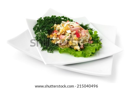 salad of corn, Chinese cabbage, egg, ham, peppers and mayonnaise - stock photo
