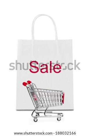 """""""Sale"""" on shopping bag with cart - stock photo"""