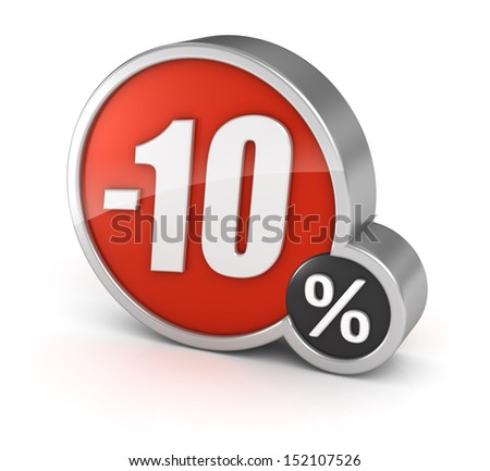 10% sale / 10 percent discount 3d icon on white background with clipping path. - stock photo