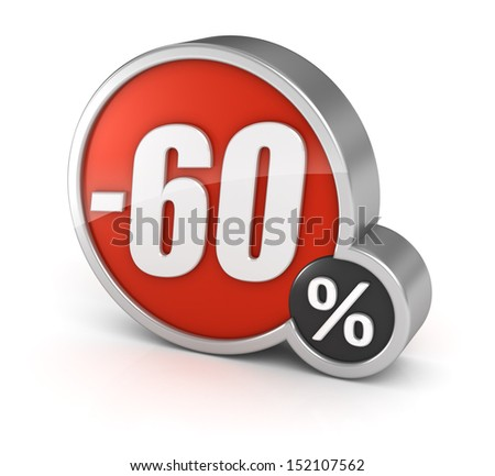 60% sale / 60 percent discount 3d icon on white background with clipping path. - stock photo