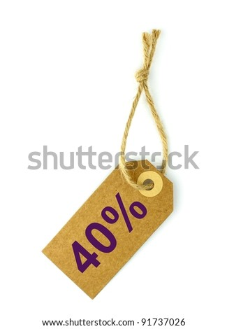 40%, Sale tag - stock photo
